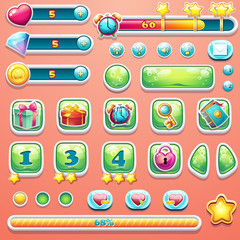 A large set of progress bars, buttons, boosters, icons for user