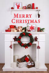 Decorations with Merry Christmas inscription