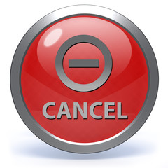 Cancel circular icon on white background