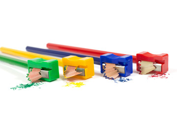 Colorful Pencil Sharpeners with Pencil Shavings Isolated