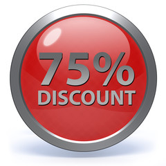 Discount 75 circular icon on white background