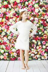 Beauty  preteen age girl in white crown