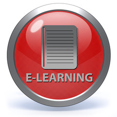 E-learning circular icon on white background