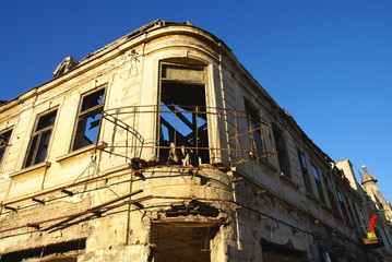 Local and authentic old building facade in the Constanta City