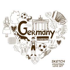 German symbols in heart shape concept