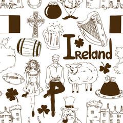 Irish symbols seamless pattern