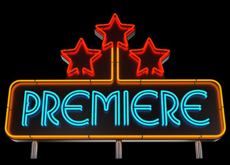 Neon Premiere Sign on Dark Background