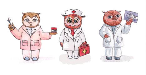 Owls dentist, nurse, radiologist. Vector set of watercolor.
