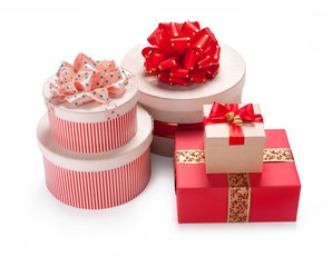 Gift packaging boxes. Merry Christmas & New Year's Eve concept