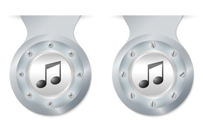 two vector objects with screws and a music icon
