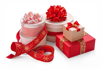 Gift packaging boxes with a bow. Merry Christmas & New Years Eve