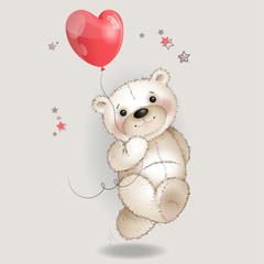 Happy Bear running with a balloon in the shape of a heart1