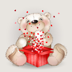 Нappy bear got in a gift box with lots of hearts 3