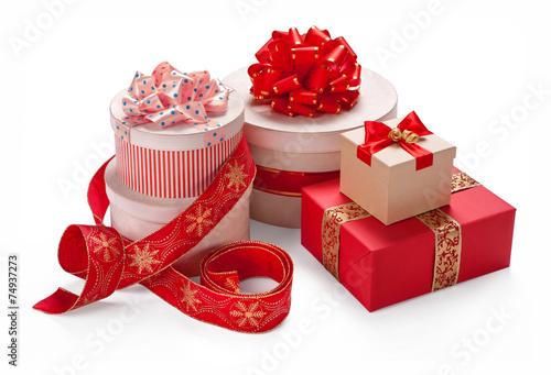 Fotomural gift packaging boxes with a bow merry christmas - Empaquetado de regalos ...