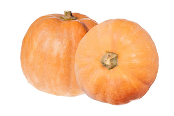 two orange pumpkins isolated on white