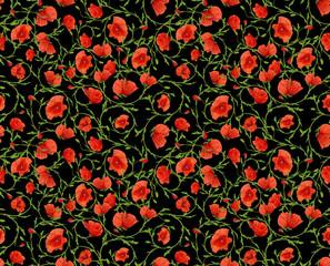 small poppy ornamental on black seamless background