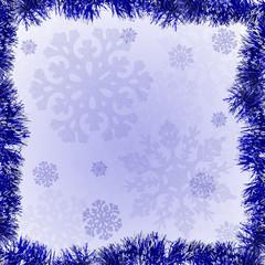 blue tinsel frame on snowflake background
