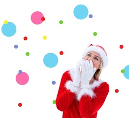 Composite image of festive blonde wearing white gloves