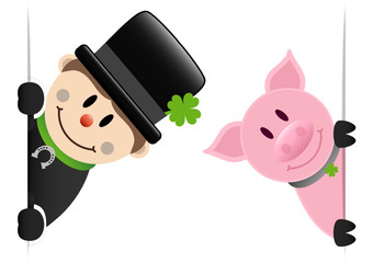 Chimney Sweeper & Pig Banner Silver Horseshoe