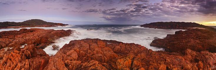 Sea Big Rocky panorama sunset