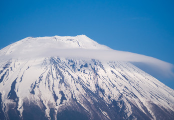 Cloud on Mount Fuji covered in snow