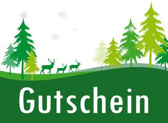 Gutschein Weihachten grün Jagt Wald