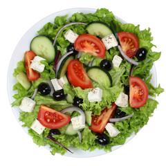 Griechischer Salat mit Tomaten, Feta Käse und Oliven auf Teller