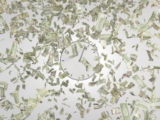 Clock and falling dollars bills