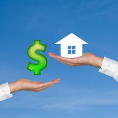 hand giving dollar for housing