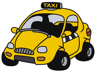 Hand drawing of the yellow funny cab