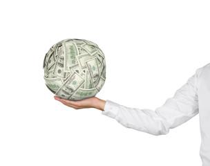 hand holding dollars ball