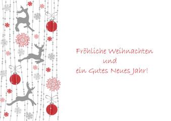 Weihnachtspostkarte mit Rentier und Girlanden