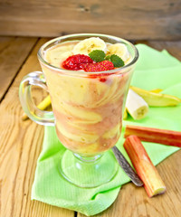 Dessert milk with rhubarb and banana on board
