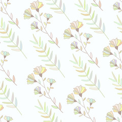 Pastel colorful botanical seamless pattern. Hand drawn flowers