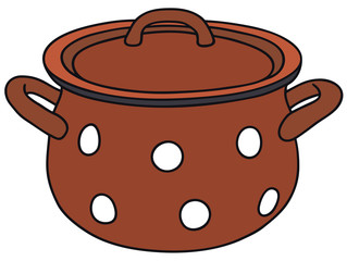Hand drawing of a red pot