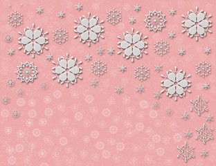 soft pink snowflakes and flowers background