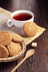 Oatmeal cookie and cup of tea