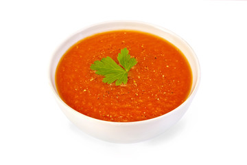 Soup tomato white bowl with pepper