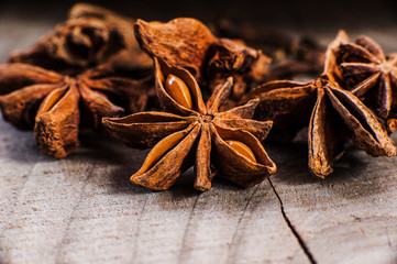 Anise  on the vintage wooden