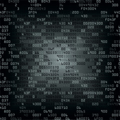 Black and white security background with HEX-code