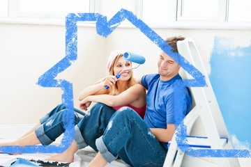 Composite image of charming couple relaxing
