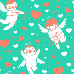 Valentines Day romantic seamless pattern with cute cupid and