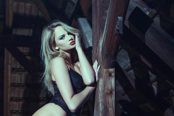 Sensual blonde woman posing in barn