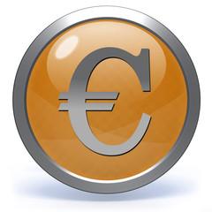 Euro circular icon on white background