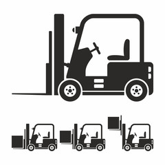Forklift truck icon set