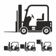 Forklift truck icon set