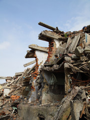 Close up of building ruins