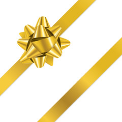 GIFT BOW (vector gold Christmas present ribbon)