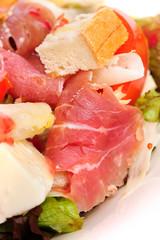 Fresh salad with prosciutto