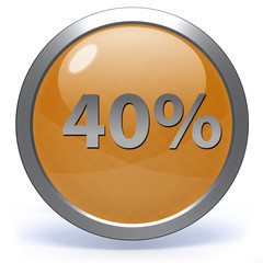 Fourty percent circular icon on white background
